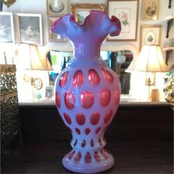 Old Fenton Red Coin Dot Vase American Antique Glass Around The 1940s And 1950s