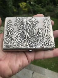 Antique Russian Solid Silver Cigarette Case Box Craved From Painting Shishkin
