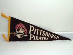 Original 1950s Pittsburgh Pirates Pennant Colorful Pirate W/knife, 29-1/2