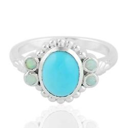 1.71ct Turquoise Cocktail Ring 925 Sterling Silver Precious Opals Jewelry