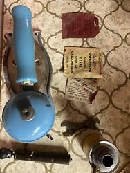 Coleman Blue Antique Vtg Instant Light Gas Clothing Iron 4a Papers Box Tool Can