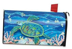 Swimming Sea Turtle Summer Magnetic Mailbox Cover Nautical