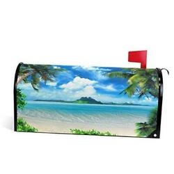 Summer Beach Tropical Palm Tree Mailbox Cover Magnetic 21x 18 Inch Multi 28