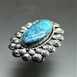 Handcrafted Sterling Silver Oval Turquoise Complex Design Southwestern Ring 7.25