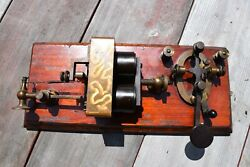 1870's Jh Bunnell And Co. W.u.tel.co.. Telegraph Key And Sounder Barclay Box Relay