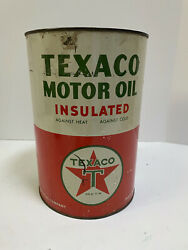 Vintage Metal Texaco Motor Oil Insulated 5 Quart Can Empty
