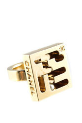 Gold Tone Logo Square Maze Cut Out Ring Gold Size 6 02a