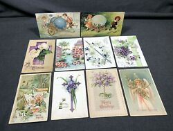 10 Antique Vintage Easter Greetings Postcard Pc's Holiday Cards Designs