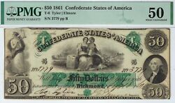 T-6 Pf-1 50 Confederate Paper Money 1861 - Pmg About Uncirculated 50
