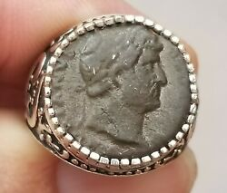 Roman Emperor Hadrian Authentic Ancient Coin 925 Solid Sterling Silver Ring
