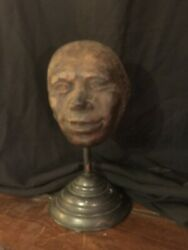 Antique Asian Mask Mold On Stand