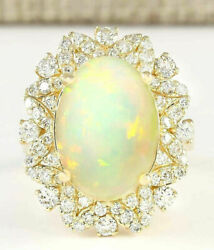 10.44ct Oval Cut Natural Opal Real Solid 14k Yellow Gold Luxury Diamond Ring
