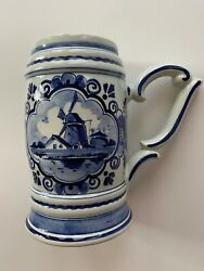 Delft Blauw Beer Stein Music Box In Base Hand Painted In Holland