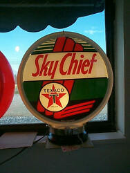 Gas Pump Globe Texaco Sky Chief And Light Stand New Repro. 2 Glass Lenses