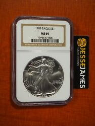 1989 1 American Silver Eagle Ngc Ms69 Classic Brown Label