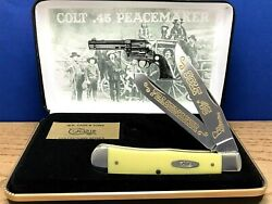 Case Xx Colt.45 002 Peacemaker Smooth Yellow Trapper Knife Gold Etch/displaynew