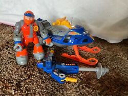 Fisher Price Rescue Heroes Bob Sled Arctic Tracker Snowmobile W/ Ice Drill