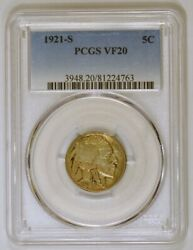 1921-s Buffalo Nickel From The San Francisco Mint Graded Vf20 By Pcgs