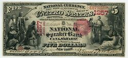 Fr. 404 1875 5 Ch 1257 National Bank Note Canajoharie New York Gr 15