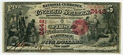 Fr. 404 1875 5 Ch 2442 National Bank Note Carthage New York Gr 15