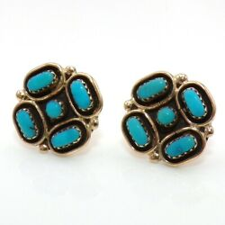 Native American 14k Yellow Gold Petit Point Blue Turquoise Stud Earrings Ljg5