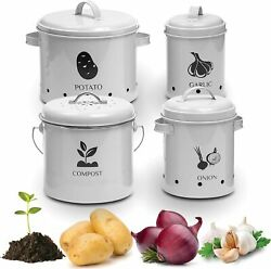 Vintage Storage Bins – Containers For Onion, Garlic, Potatoes White