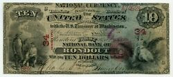 Fr. 416 1875 10 Ch 34 National Bank Note Rondout, New York Gr 6