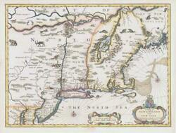 1676 Rare Antique Map New England New York Usa By John Speed And Bassett Chiswell