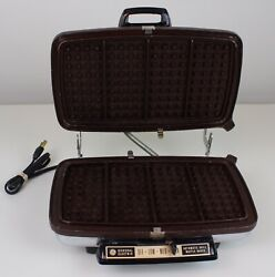 Vintage General Electric A7g44 Table Top Chrome Waffle Grill Iron Tested Works