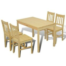 Set Of 5 Kitchen Dining Pine Wood Breakfast Furniture Table And 4 Chairs Home Us