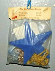 Vintage Christmas Shops Blue Gold Star Tree Topper Bead Sequin Ornament Kit Read