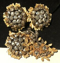 Miriam Haskell Set Rare Vintage Signed Gilt Rhinestone Brooch Pin And Earrings A40