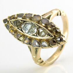 Antique Womenand039s Ring Diamonds Rose Cut Approx. 150 Ct - 14k/585 Yellow Gold