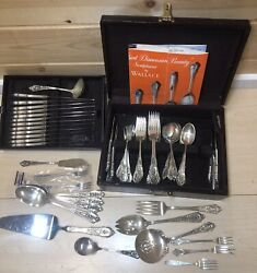 Vintage Rose Point By Wallace Sterling Silver Flatware Set 84 Pieces W/ Box