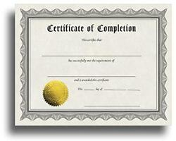 Certificate Of Completion Certificate Paper With Embossed Gold Assorted Sizes