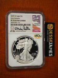 2020 W Proof Silver Eagle Ngc Pf70 Ultra Cameo Er Mike Castle Hand Signed Label