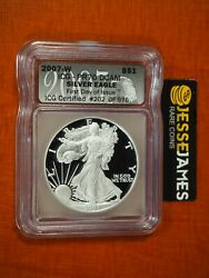 2007 W Proof Silver Eagle Icg Pr70 Dcam First Day Of Issue Fdi Black Label
