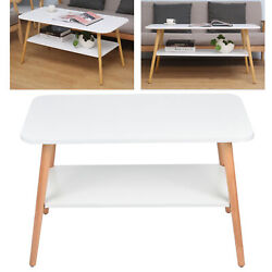 Modern Coffee Table Double‑deck Storage Shelf Living Room Bedroom Side End Table