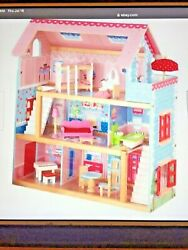 Kidkraft Nib Chelsea Wooden Dollhouse Pretend Play Cottage With Furniture 65054