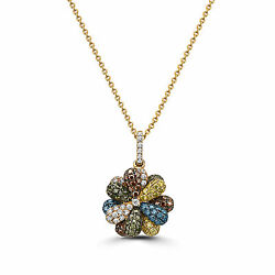 Levian Pendant 1 Cts White Red Green H Si1 Natural Diamonds, In 14k Yellow Gold
