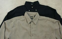 2 Men's Long Sleeves Dress Shirts Nautica And George Sueded Size M / Medium Nice
