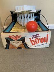 Vintage Tudor Games Bowl 1966 Bowling Game With Dual Action Pin Reset In Box