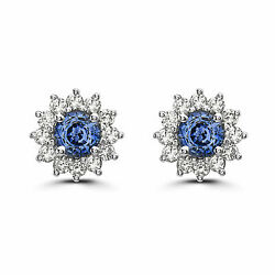 Birthstone Earrings 2 3/8 Cts Natural Blue Sapphire Nude Diamonds 14k White Gold