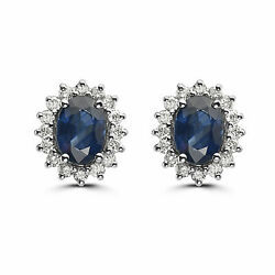 Birthstone Earrings 3 1/2 Cts Natural Blue Sapphire Nude Diamonds 14k White Gold