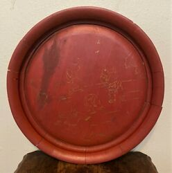 Antique Vintage Chinese Oriental Red Lacquer Wood Serving Tray W Gilt Design 18