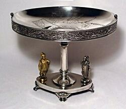 Antique Simpson Hall Miller And Co Treble Plate Aesthetic Movement Figural Compote