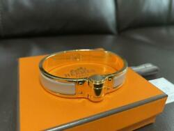 Hermes Accessory Bangle Bracelet Charniere Ivory Size Small With Original Box