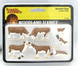 Woodland Scenics A2767 Hereford Cows O Scale Farm Animals Cattle Scenery
