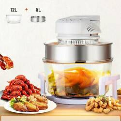 17l Glass Air Fryer Infrared Halogen Convection Oven Roaster Health 360° Heating