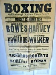 George Bowes V Rudy Edwards - Original Boxing Poster - 30 X 20 Inches